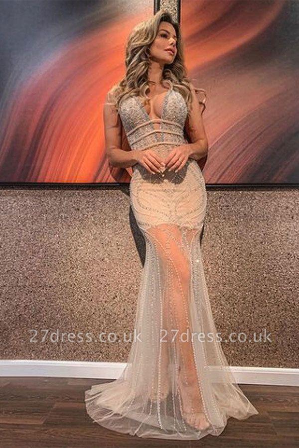 V-neck Sleeveless Beading See Through Tulle Mermaid Formal Dresses