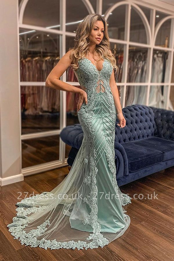 Trendy V-neck Lace Appliques Sweep Train Mermaid Prom Dresses UK Designs