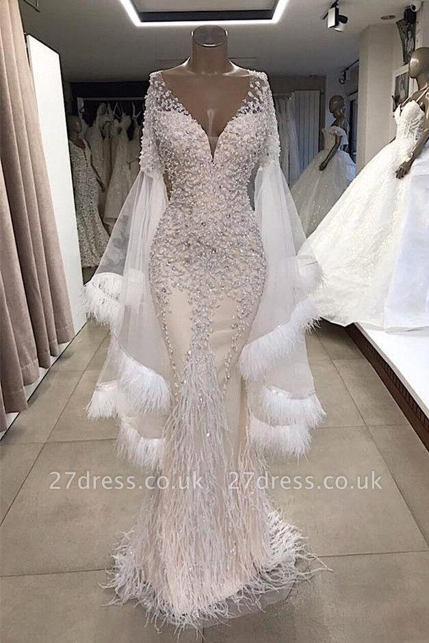 Trendy V-neck Appliques Tassels Sleeves Mermaid Long Prom Dresses