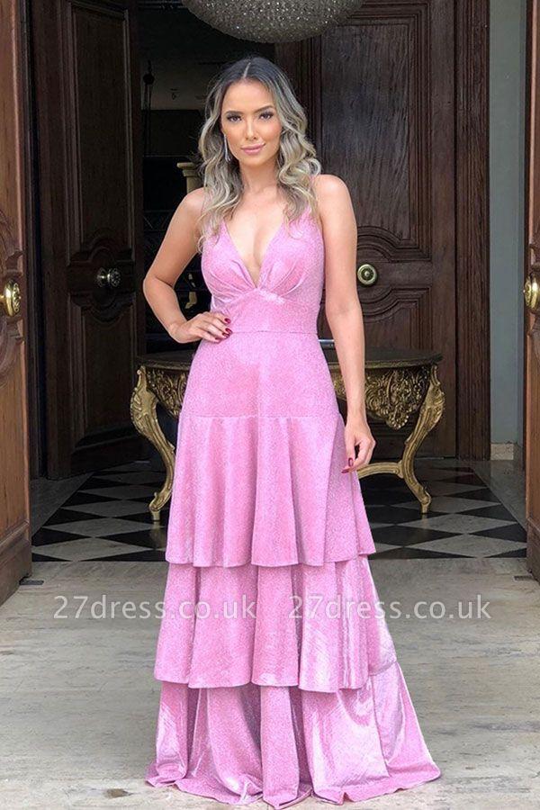 V-neck Sleeveless Ruffled Layers Velvet A-line Evening Gowns