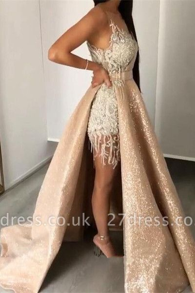 Sleeveless Lace Appliques Mermaid Prom Gowns with Sweep Train
