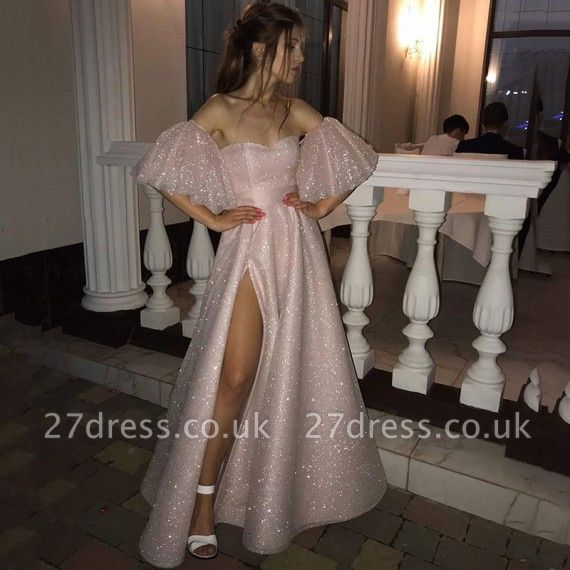 Sweetheart Off-the-shoulder Puffy Sleeves Sequins A-line Slit Prom Dresses