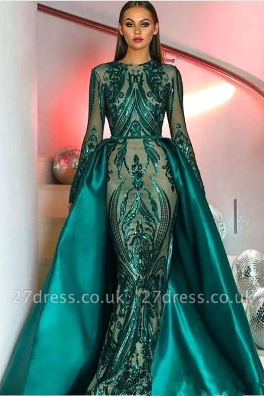 Long Sleeves Sequins Appliques Floor Length Mermaid Dresses with Overskirt