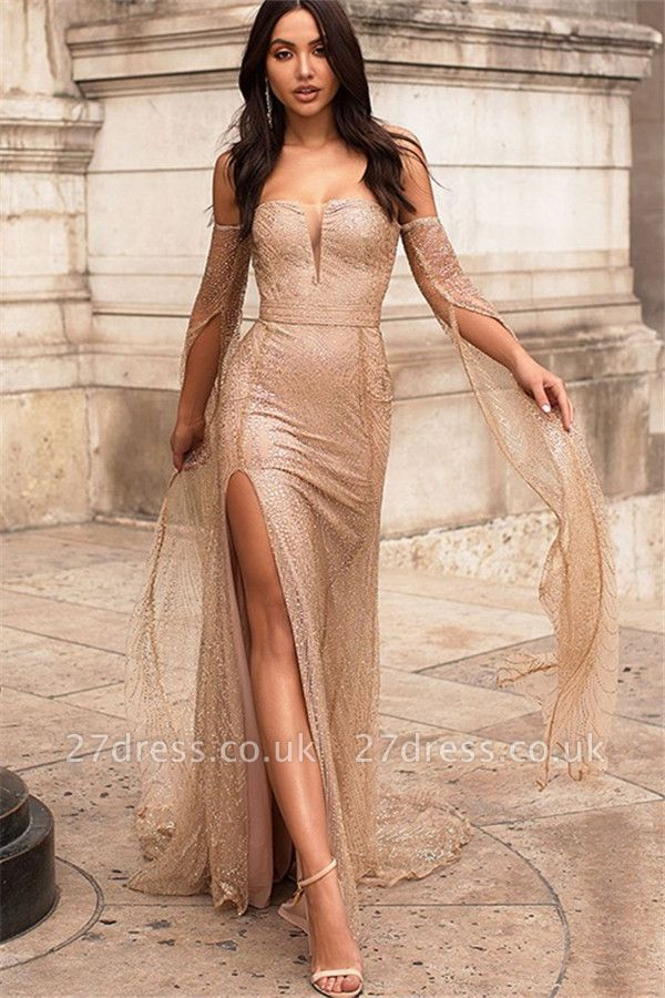 Strapless Golden Sequins Floor Length Sheath Evening Gowns with Sleeves