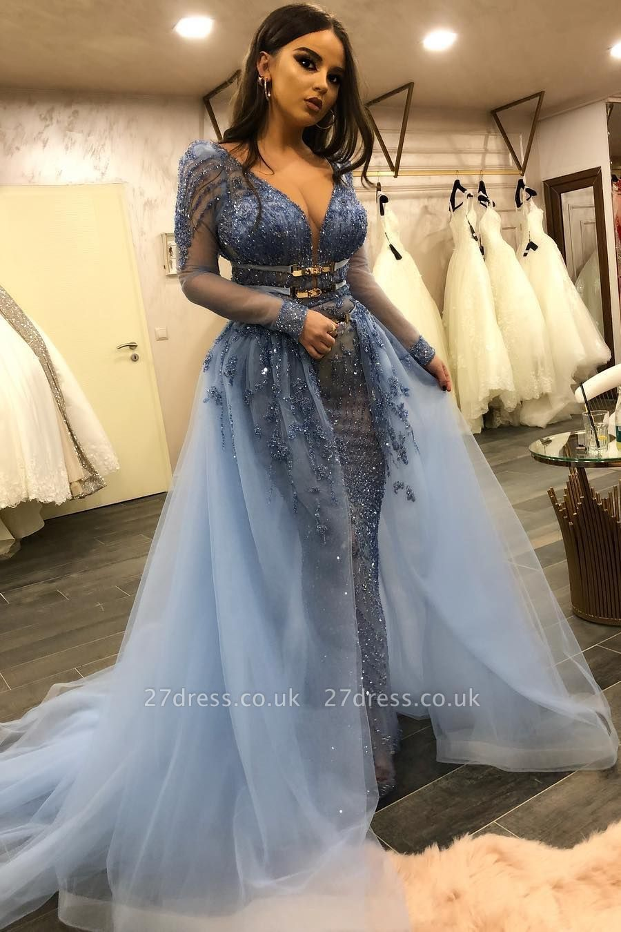 Luxurious V-neck Long Sleeves Belted Mermaid Crystal Beading Tulle Dresses with Overskirt