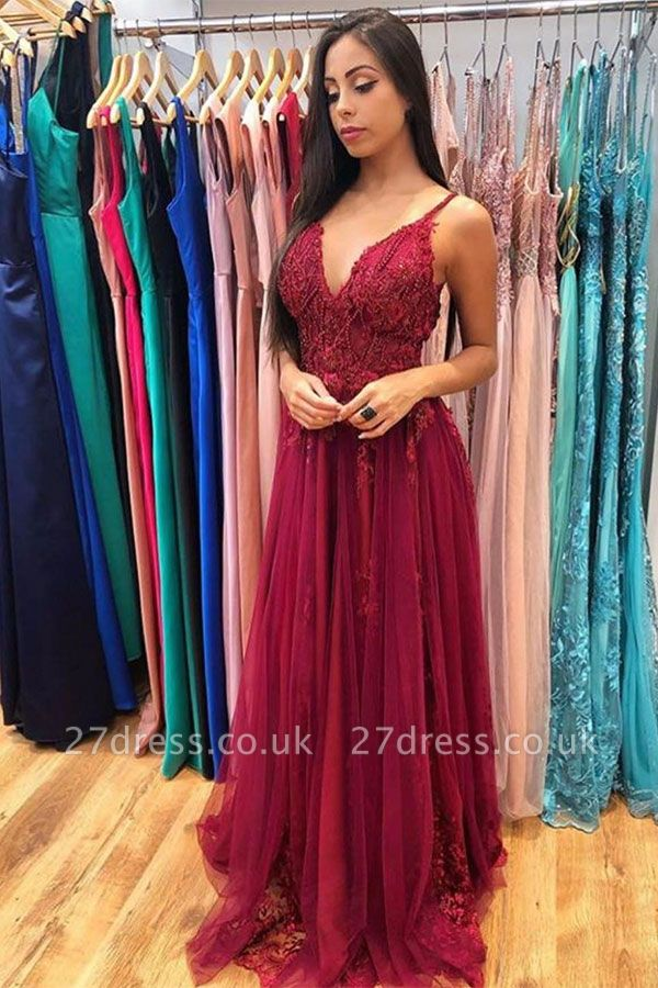 Elegant A-line Lace Appliqued Tulle Floor Length Prom Dresses