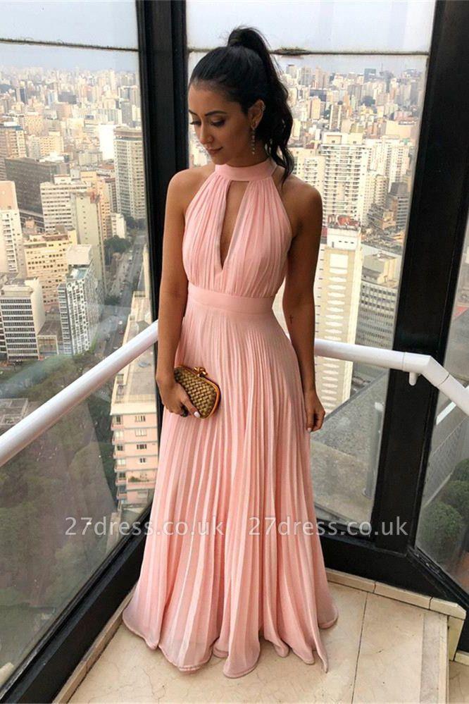 Ruffled Chiffon Keyhole Neckline A-line Long Prom Dresses