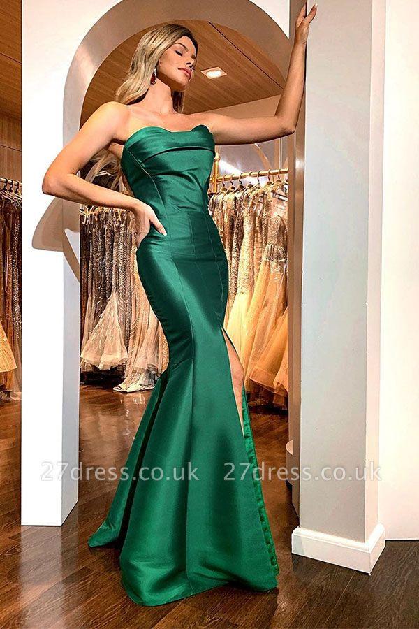 Timeless Sweetheart Strapless Front Slit Long Mermaid Dresses