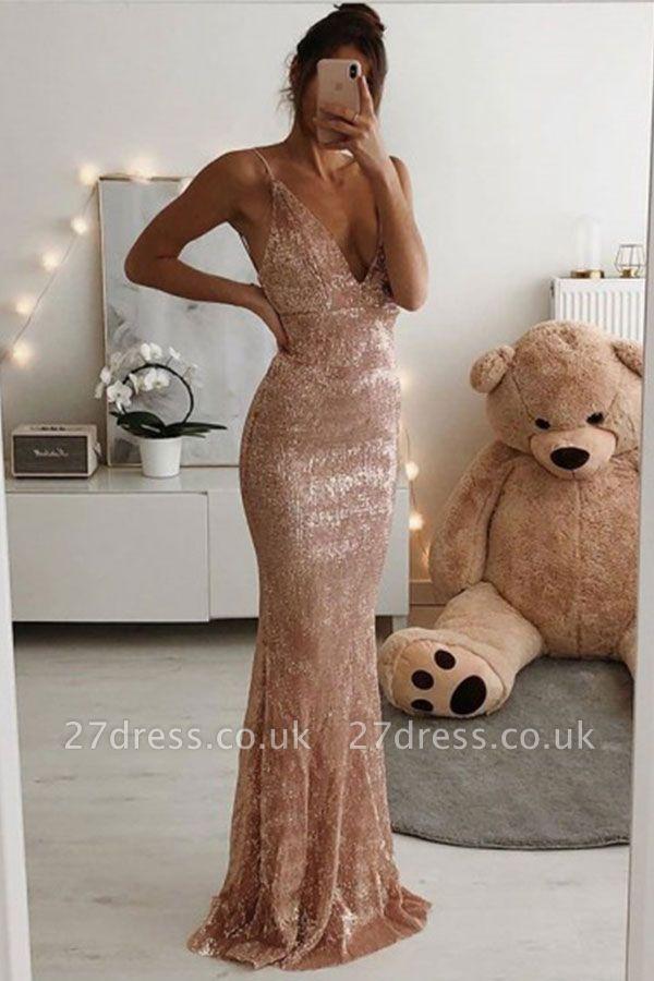 V-neck Spaghetti Sleeveless Long Mermaid Prom Dresses