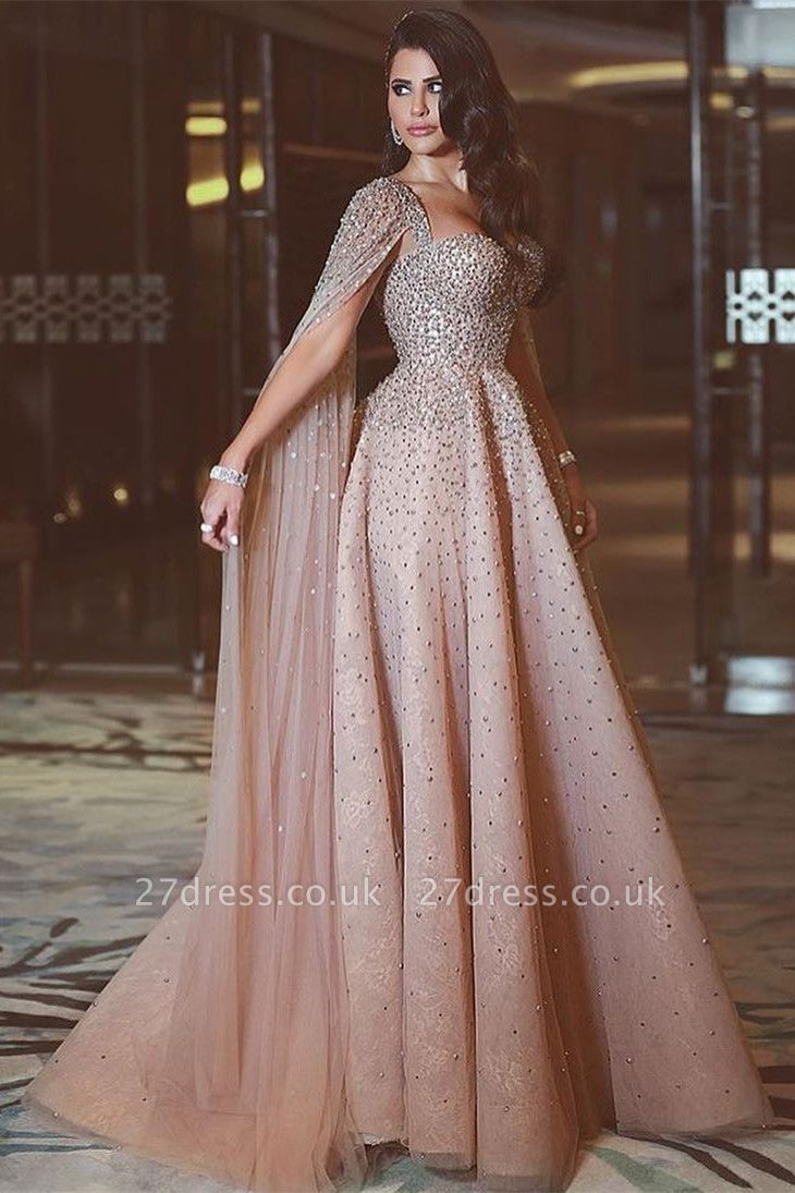 Sweetheart Spaghetti Wateau Train Beading A-line Formal Gowns
