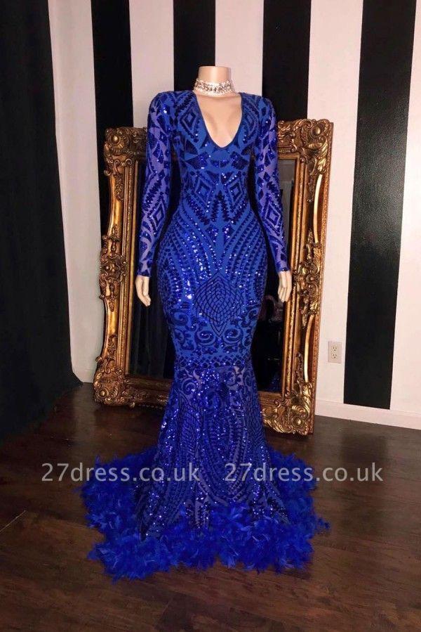 Charming Royal Blue Sequins Mermaid Prom Dress Long Sleeve Slim  Evening Dress