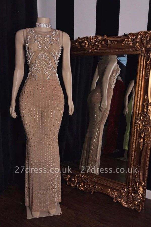 Sleeveless Pearl Beading Floor Length Champagne Mermaid Formal Gowns
