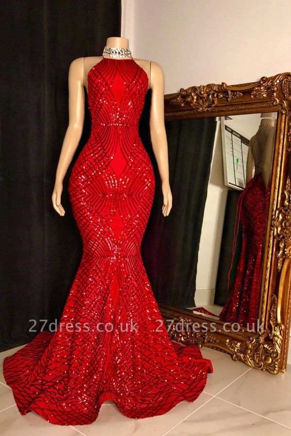 Sequins Beading Halter Cross Back Long Mermaid Prom Dresses