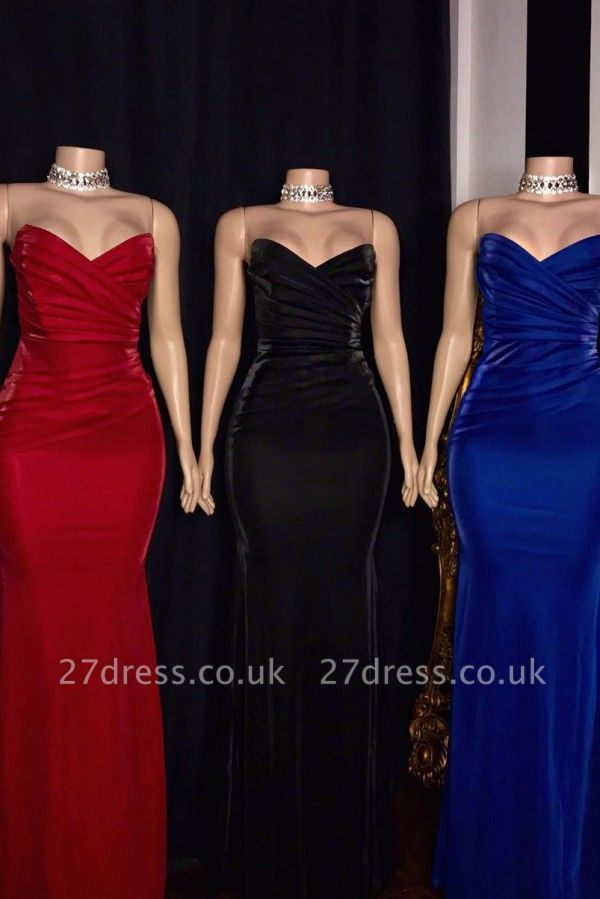 Draped V-neck Strapless Floor Length Mermaid Formal Dresses