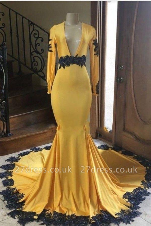 Long Sleeves V-neck Black Appliques Golden Mermaid Prom Dresses