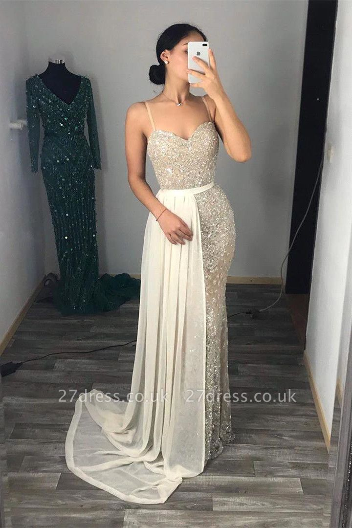 Silver Sequins Sweetheart Spaghetti Long Mermaid Dresses with Tulle Train