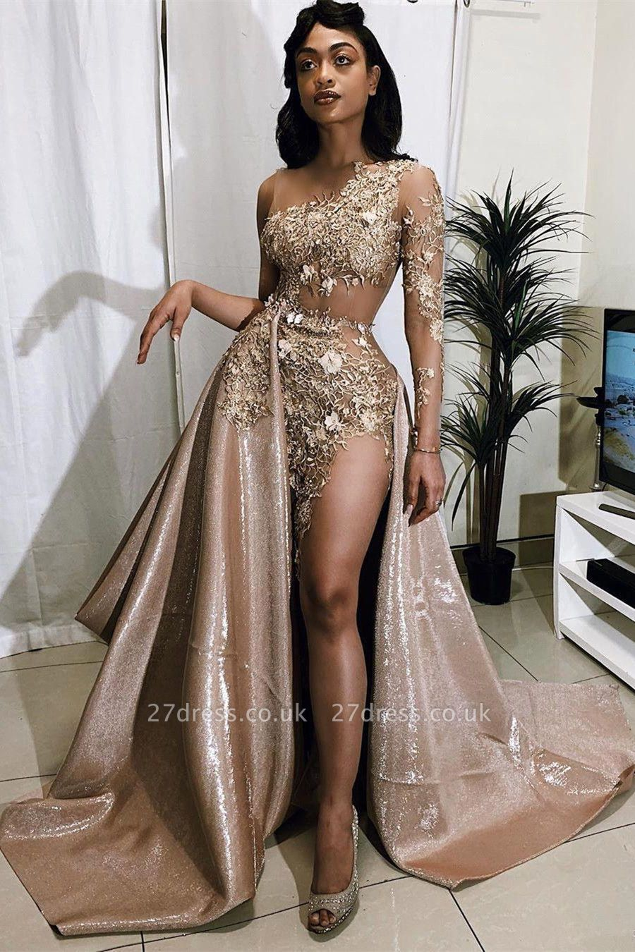 Sexy One-sleeve Appliques Mermaid Prom Dresses with Sequins Overskirt