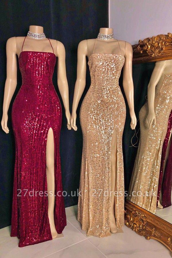 Spaghetti Straps Sequins Floor Length Mermaid Formal Dresses UK