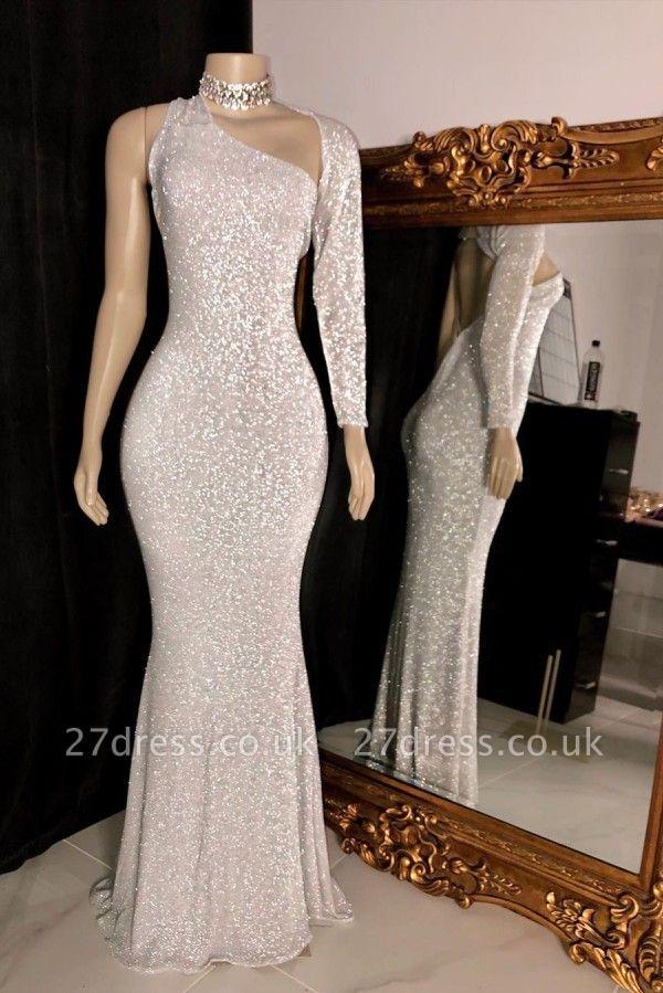 Asymmetry Shoulders Silver Sequins Long Mermaid Evening Dresses