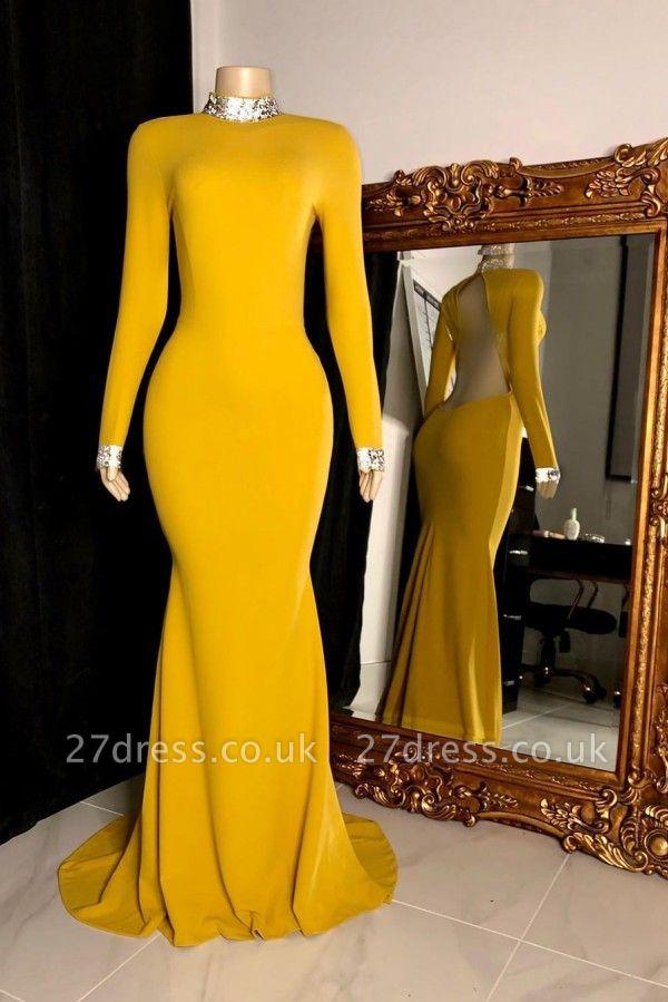 Long Sleeves Floor Length Open Back Mermaid Prom Gowns