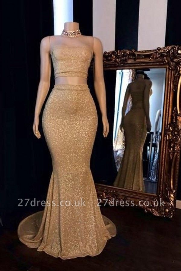 Strapless Two-pieces Golden Shinny Mermaid Prom Dresses