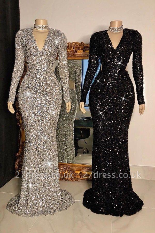Shinning Sequins V-neck Long Sleeves Floor Length Mermaid Prom Dresses