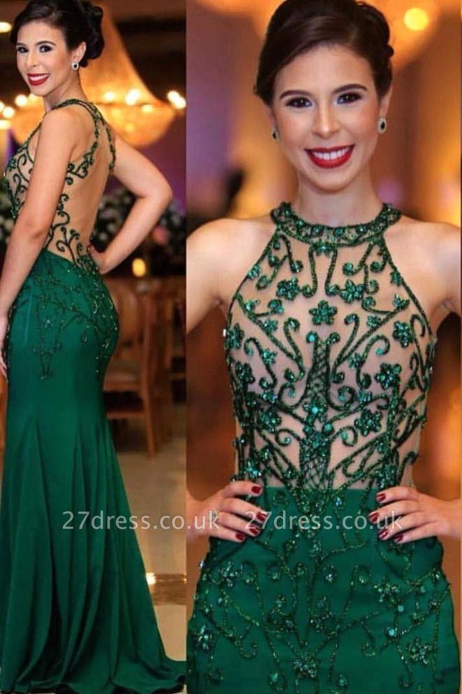 Halter illusion Crystal Beading Sheath Floor Length UK Evening Dresses