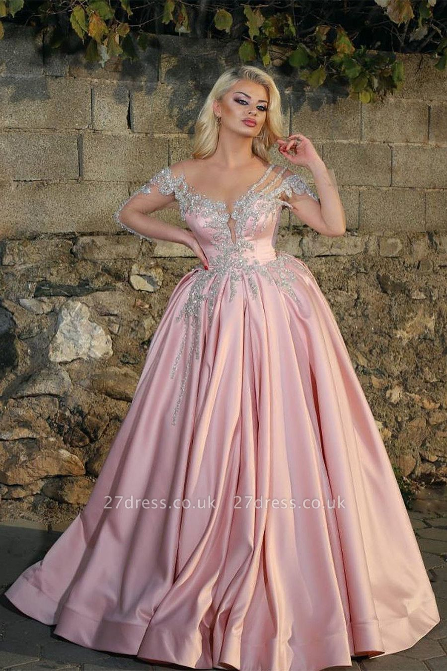 Illusion Long Sleeves Beading Appliques Princess Pink Prom Dresses
