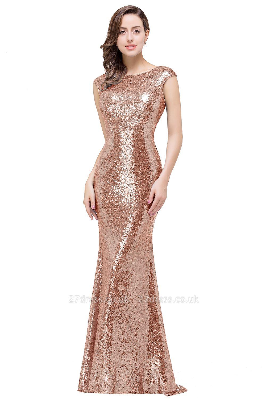 Mermaid Modest Long Sequined Blue Jewel Cap-Sleeve Prom Dress UK