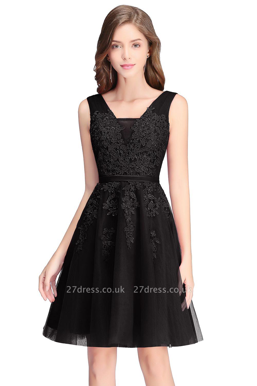 Beautiful Sleeveless lace-up Short homecoming Dress UK Lace Appliques Tulle BA3782