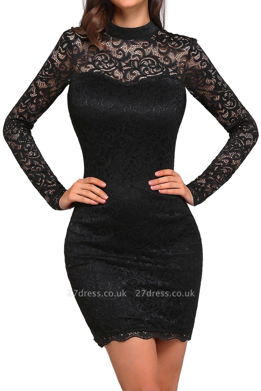 Short Black Long-Sleeves Lace High-Neck Party Dress UK