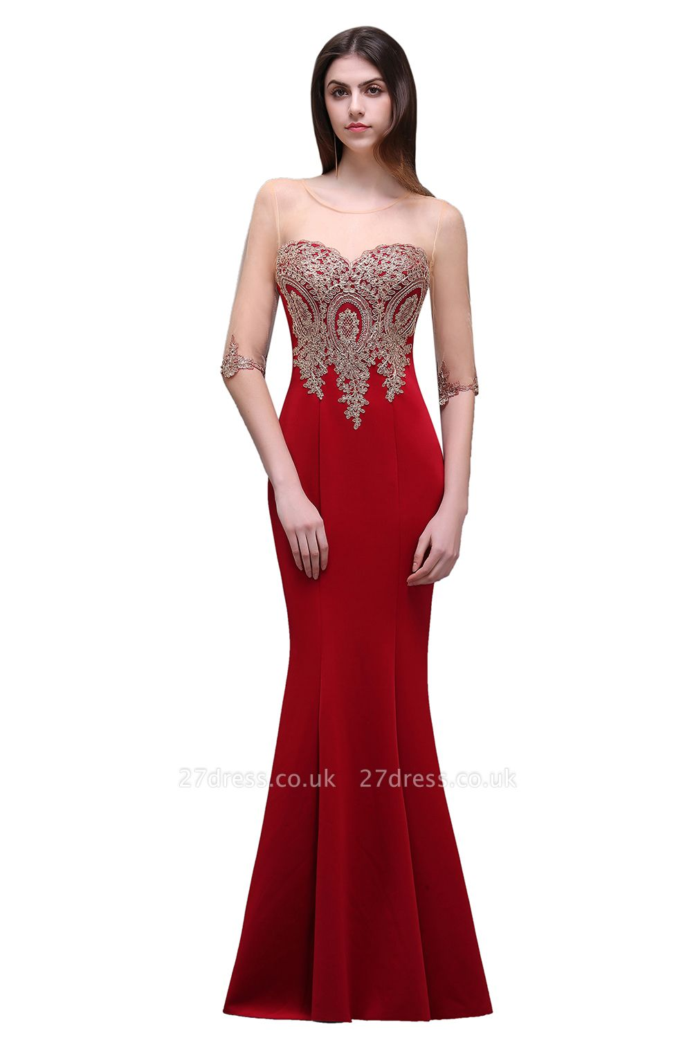 BELLA | Sheath Round Neck Floor-Length Burgundy Prom Dresses With Applique
