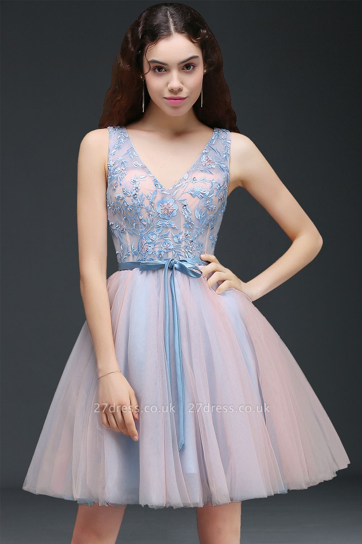 Fairy Sky-Blue V-Neck Puffy Flowers-Beaded Homecoming Dress UKes UK