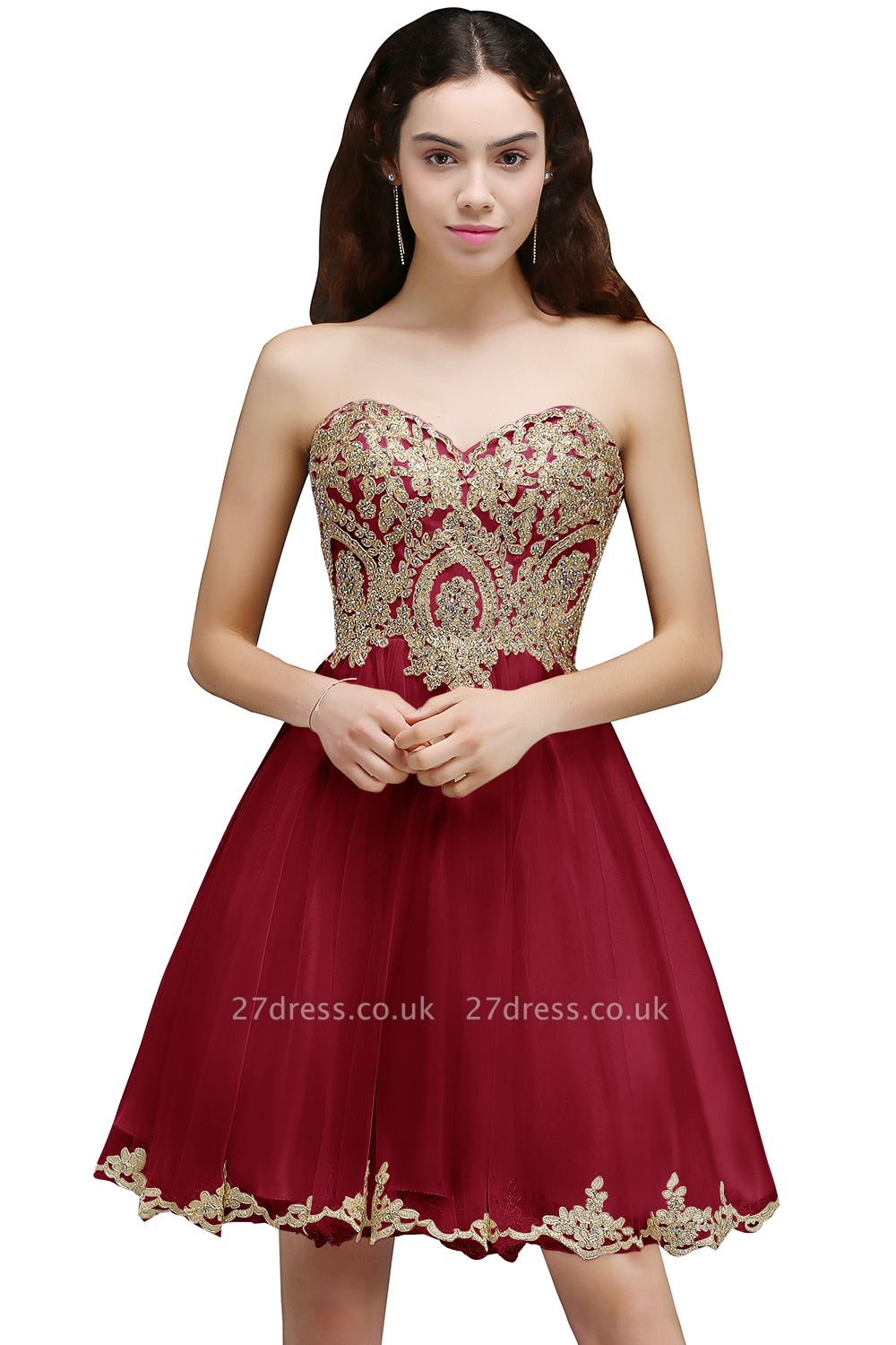 Lovely Sweetheart Short Appliques Lace-Up Homecoming Dress UK