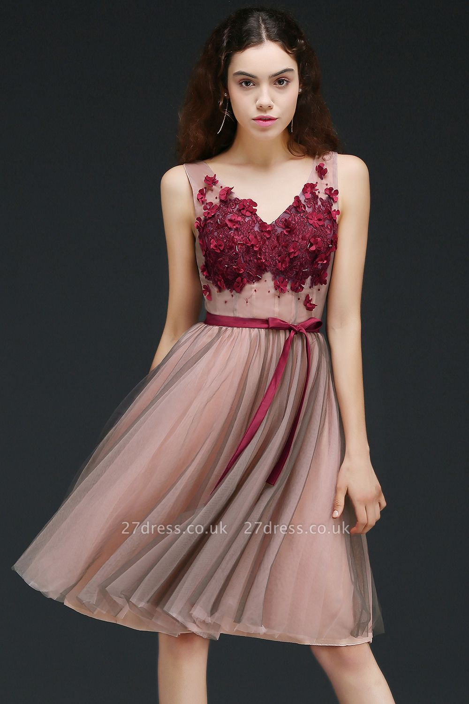 Burgundy-Flowers Romantic V-Neck Sash Open-Back A-line Homecoming Dress UKes UK
