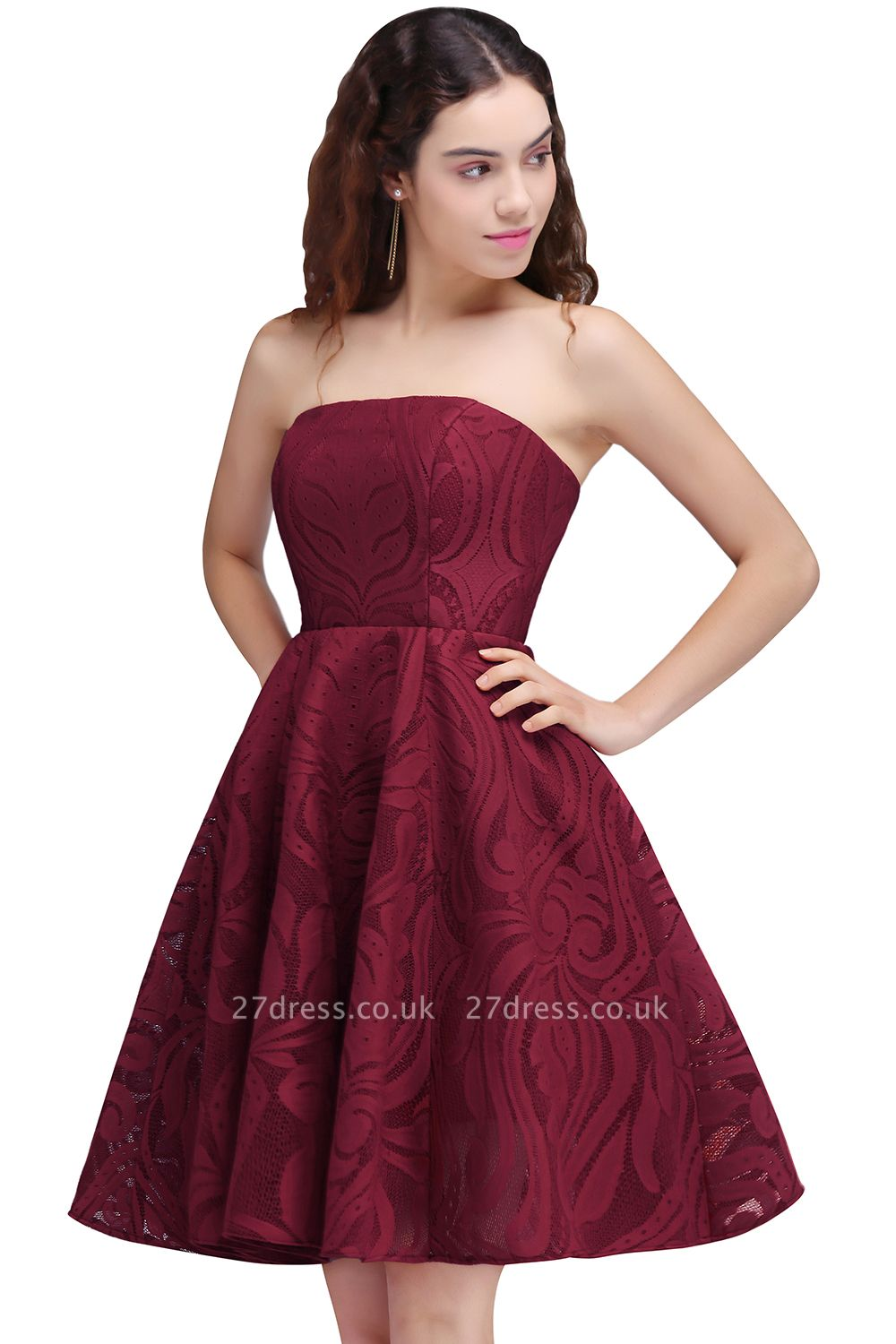 Short Simple Strapless Sleeveless Burgundy A-line Homecoming Dress UK