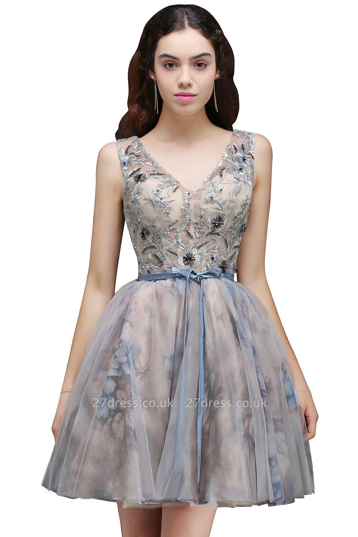Sash Cute Lace-up Sleeveless Straps Short Flowers Homecoming Dress UK