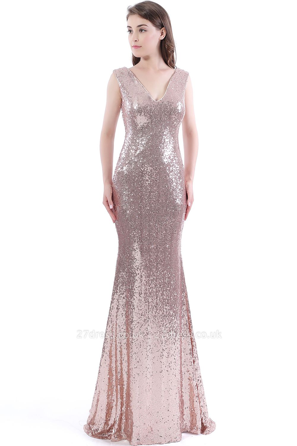 Mermaid V-Neck Simple Sequins Long Evening Dress UKes UK