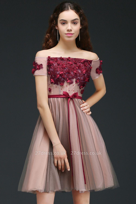 Knee-Length Burgundy-Flowers Off-the-Shoulder Short-Sleeves Homecoming Dress UKes UK