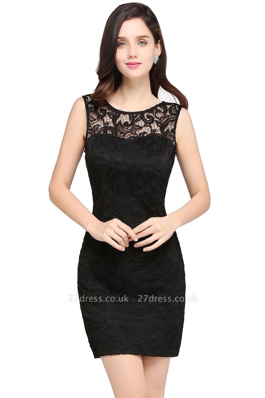 Back-Zipper Sheath-Column Lace Short-Mini Scoop-neckline Cocktail Dress UK