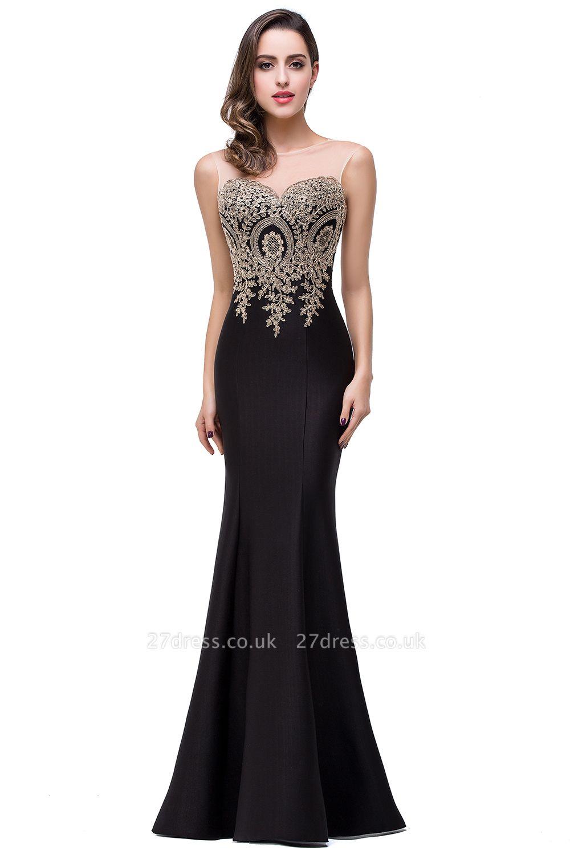 EMMY | Mermaid Floor-Length Sheer Prom Dresses with Rhinestone Appliques