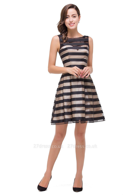Short Party Black Sleeveless Illusion Elegant Homecoming Dress UK
