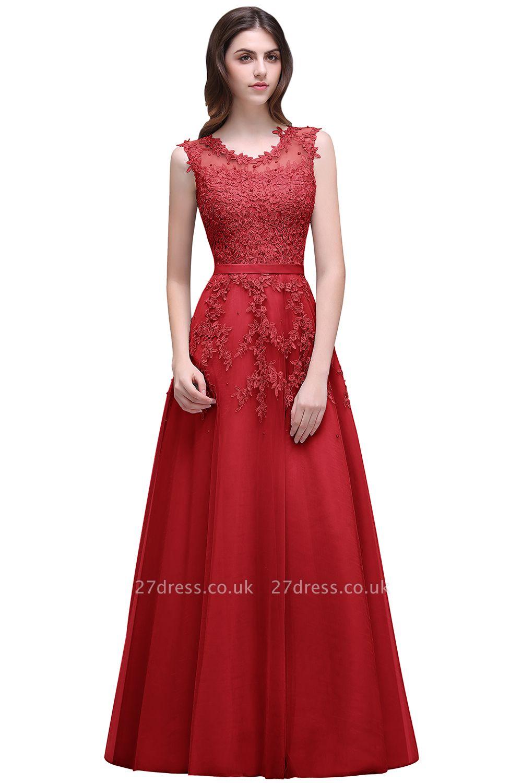 Bateau-Neck Lace Red A-line Beaded Long Party Dress UKes UK