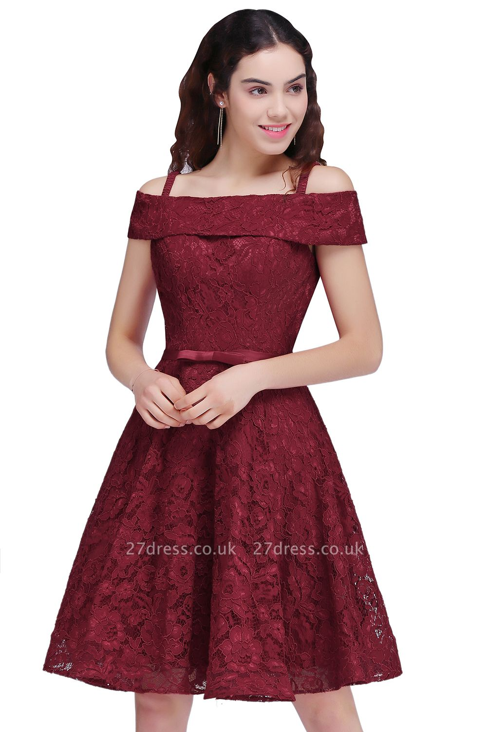 Off-the-Shoulder Lace Burgundy Simple A-Line Homecoming Dress UK
