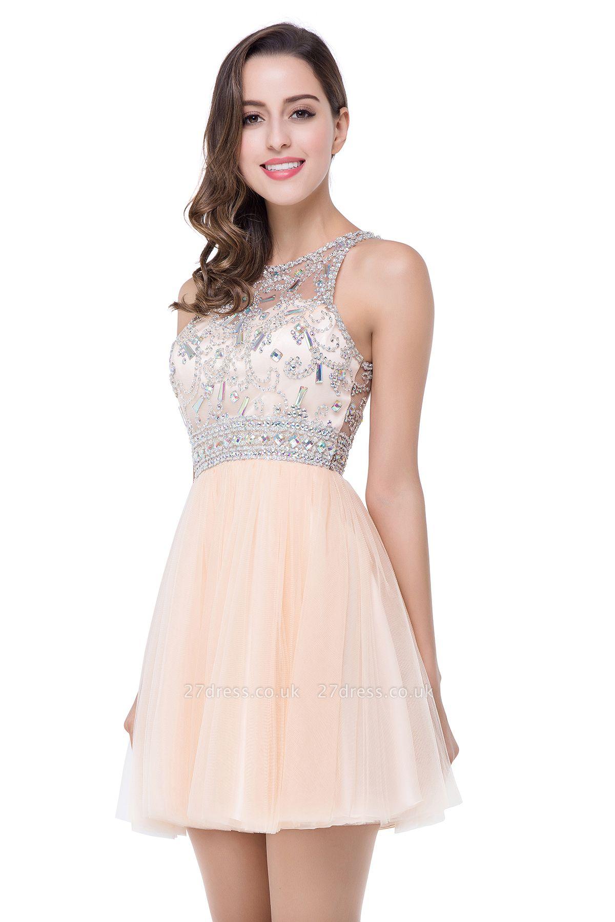 Sexy Beadings Crystal Short Prom Dress UK Chiffon Homecoming Gown