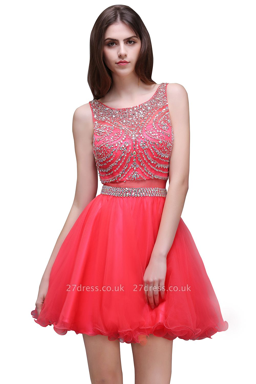 Applique Sleeveless Crystal Beads Cute A-Line Rose Short Evening Dress UKes UK
