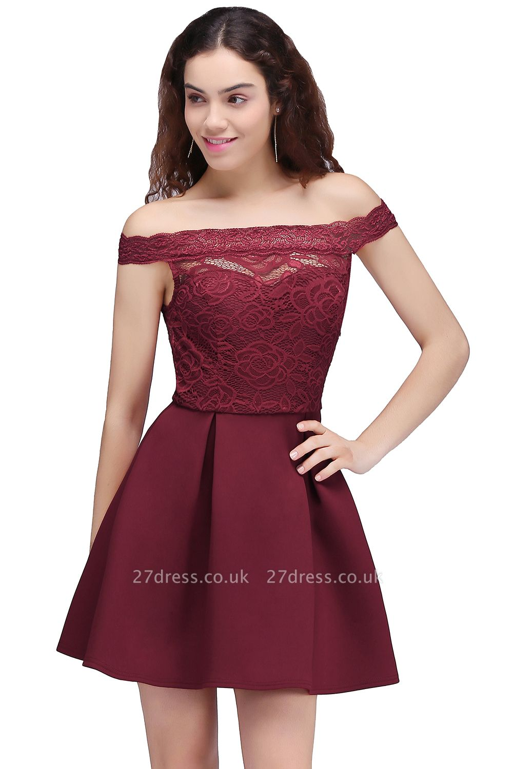 Burgundy Lace A-Line Short Off-the-Shoulder Homecoming Dress UKes UK