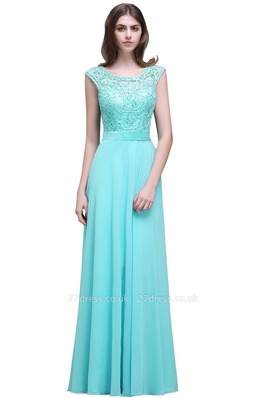 Gorgeous Lace-Appliques Chiffon A-Line Scoop prom Dress UKes UK
