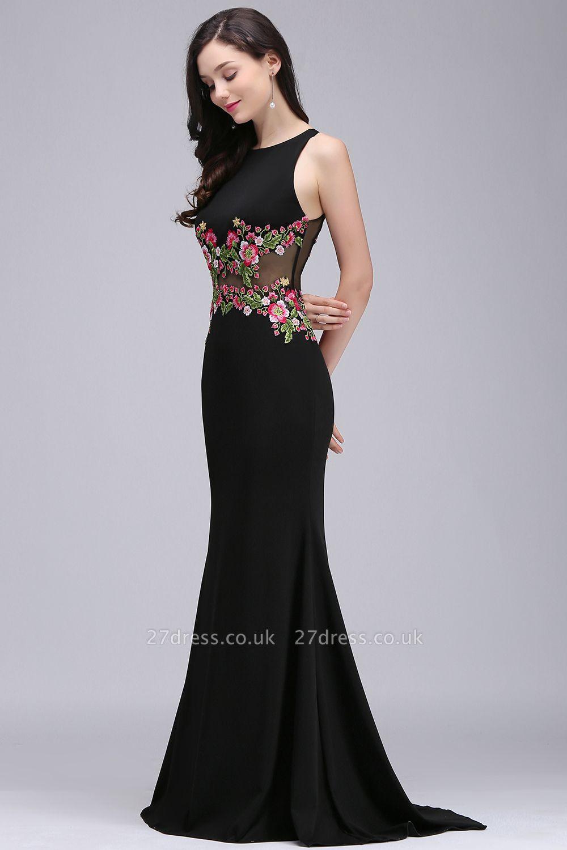 ELAINE   Mermaid Floor-length Sleeveless Prom Dresses with Embroidery-flowers