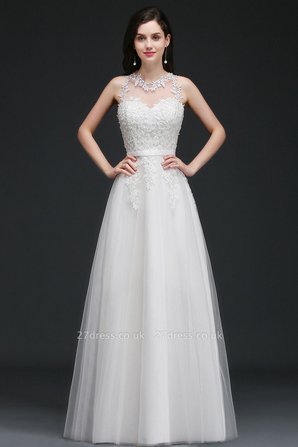 AMARI | A-Line Jewel Floor Length Tulle Wedding Dresses with Lace